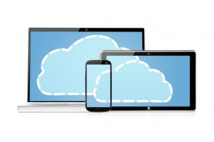 set of electronic devices with clouds on its screens, isolated on white background